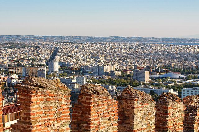 Stare mury bizantyjskie w Salonikach